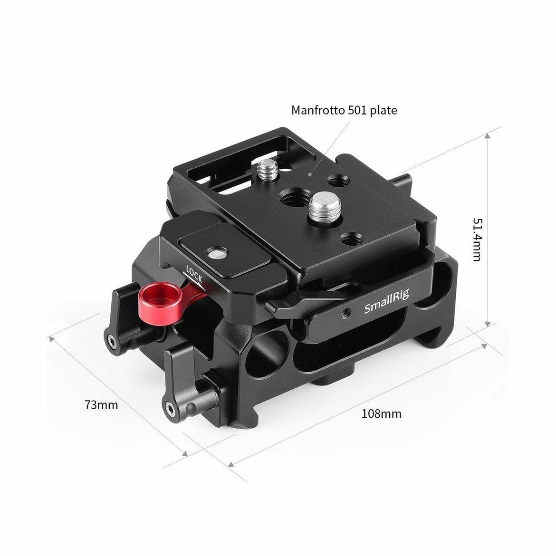 SMALLRIG BMPCC Baseplate for Manfrotto 501PL Compatible with Black Design Pocket Cinema Camera 4K /& 6K 2266