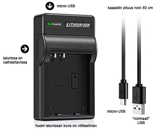 USB laturi Fuji NP 40 + Micro USB kaapeli | Digitarvike.fi