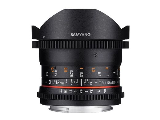 Samyang VDSLR 12mm T/3.1 ED AS NCS Fish-eye, MFT