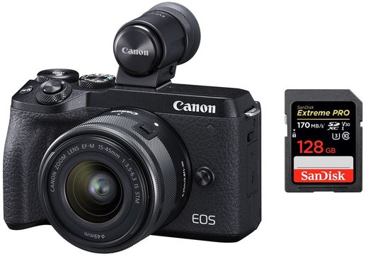 Canon EOS M6 Mark II +  EF-M 15-45mm + 128GB muistia