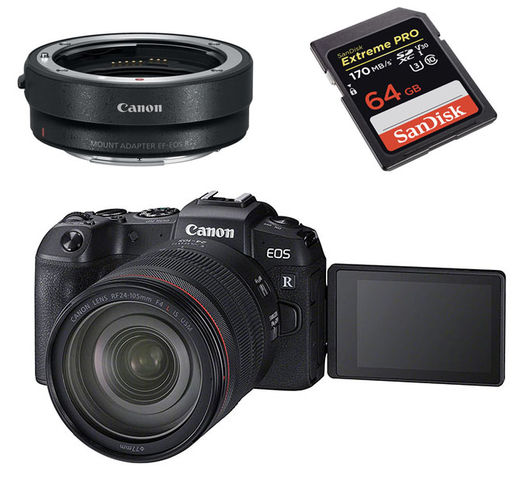 Canon EOS RP -runko + RF 24-105mm F4 ja EF - EOS R adapter ( + 64GB SD )