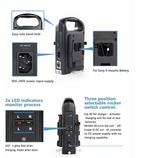 BP-2CH Dual V-Mount battery charger