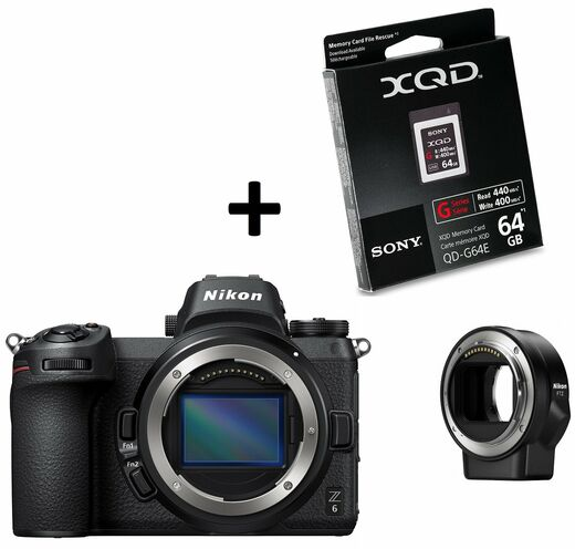 Nikon Z6 Z-mount + F-mount adapter + 64gb G-series XQD