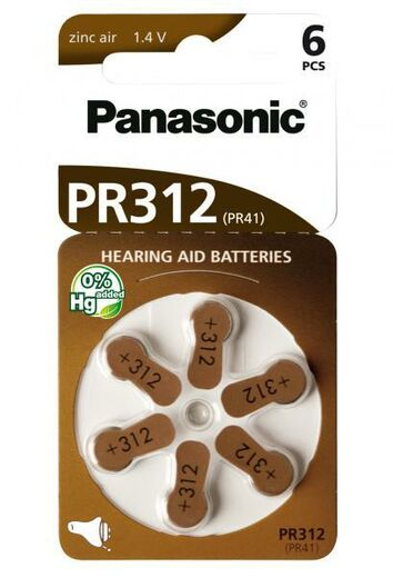 Panasonic PR 312 Zinc Air 6kpl Hearing Aid Cells Kuulokojeparisto